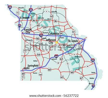 Missouri state road map with Interstates, U.S. Highways and state roads. Raster illustration.