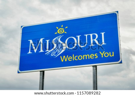 Missouri Welcomes You - a roadside sign at a state border with Illinois