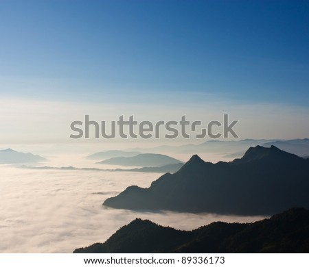 Mist and mountains.