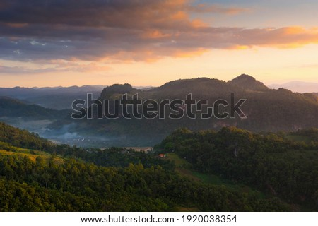 Mist at morning, Baan JABO viewpoint. Mae Hong Son, Baan JABO one of the most amazing Mist in Thailand. Stockfoto ©