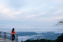 Mist, morning sky in the mountains of northern Thailand.
