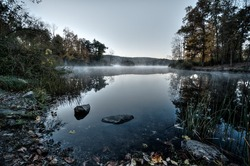 Mist on a lake in northern New Jersey