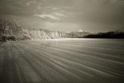 Mist over frozen lake, captured in France alp