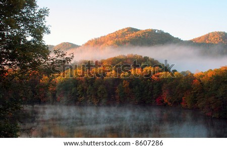 Mist over North Carolina mountains