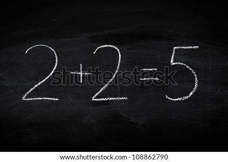 Mistake in math formula on chalkboard - education concept illustrated on blackboard