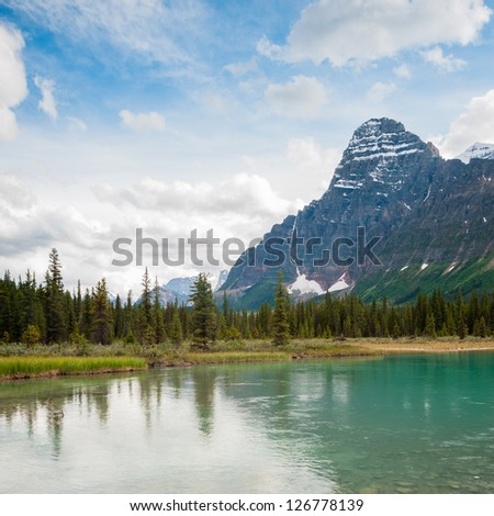 mistaya lake on the icefield parkway in banff national park, alberta, canada