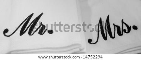 Mister and Misses monogrammed napkins