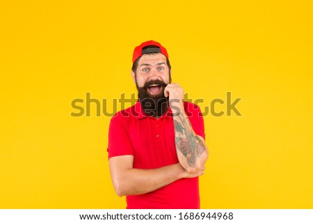 Mister moustache barber shop. Bearded man twirl mustache. Happy hipster yellow background. Professional barber. Shave barbershop. Barber service. Barbering industry. Let barber trim your beard.