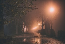 Misty alley in night city park, mystical autumn cityscape with burning lanterns, trees and benches