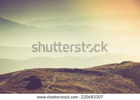 misty autumn mountain hills...