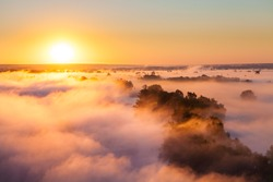 Misty dawn over the Valley and the forest
