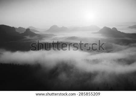 Misty daybreak in a beautiful hills. Peaks of hills are sticking out from foggy background. Black and white photo.