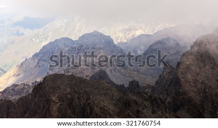 Misty dreamy landscape. Deep misty valley in autumn Turkey #321760754