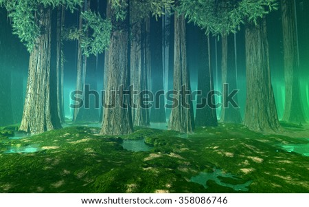 Misty forest with giant fir trees, hills, still water and green air perspective. 3d illustration.  #358086746
