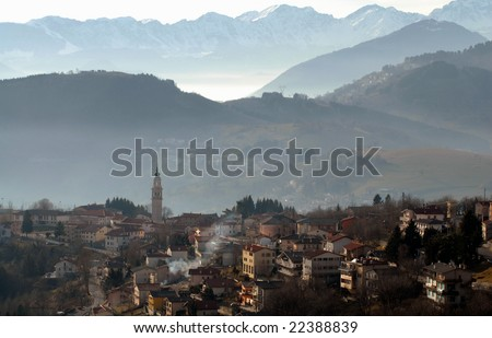 Misty hill landscape