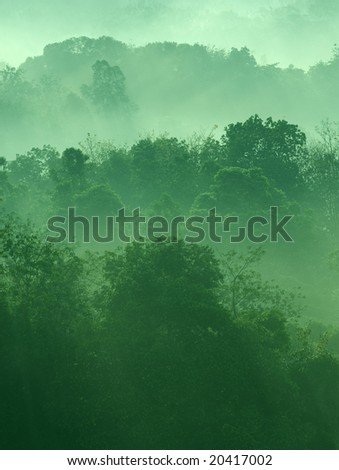 Misty hilly area with ray of light.