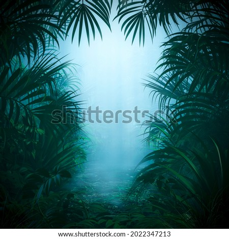 Misty jungle nature frame - 3D illustration of mysterious rainforest background with light rays shining through forest canopy framing copy space