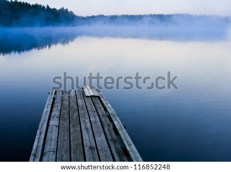Misty morning and a foggy lake