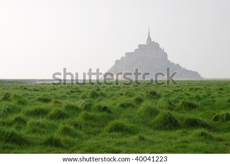 Misty morning near Mont Saint-Michel abbey