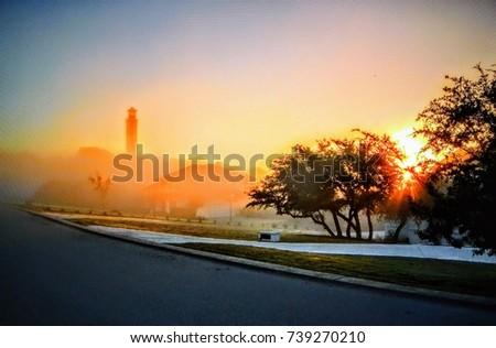 Misty morning Sunrise in Austin, Texas.