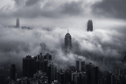 Misty morning view at Hong Kong City with B&W color