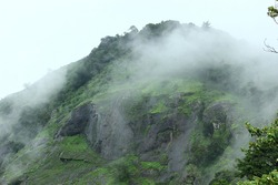 misty mountain hill view at munnar