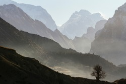 Misty mountain. Himalayas, Nepal, Annapurna Conservation Area.
