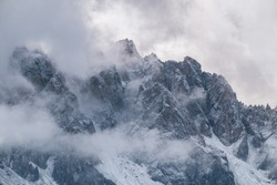 Misty mountain scene in Dolomites mountain Italy, Europe