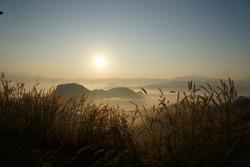 Misty sunrise in North Thailand