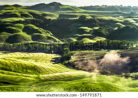 Misty valley in Tuscany at sunrise - stock photo