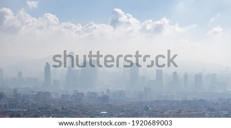 misty view of Ataşehir One of the districts with the most intense construction in Istanbul, there are financial city and high-rise housing projects under construction in the region. 2021