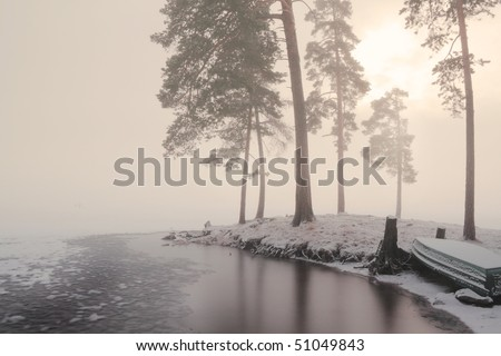 Misty Waters, Sunset over Frozen Lake and Jetty with some light grain to Fog