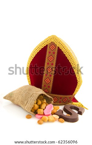 Miter from Dutch Sinterklaas with traditional candy