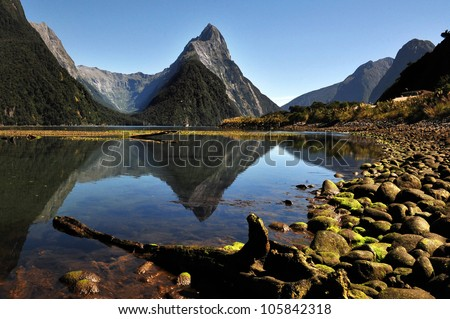 Mitre Peak in Fiordland National Park, southern Island, New Zealand.