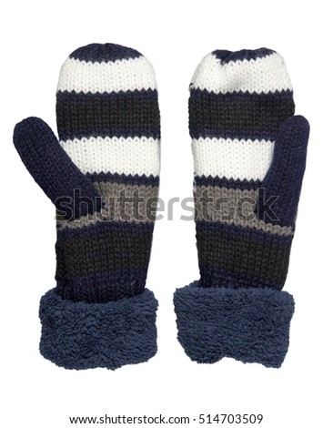 Mitten isolated on white background. Knitted mittens. Mittens top view.purple mitten . #514703509