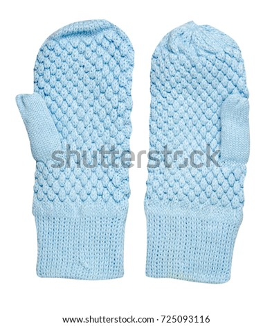 Mittens isolated on white background. Knitted mittens.Blue  mittens top view. #725093116
