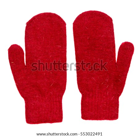 Mittens isolated on white background. Knitted mittens. Mittens top view.red mittens. #553022491