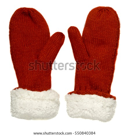 Mittens isolated on white background. Knitted mittens. Mittens top view.red white mittens  #550840384