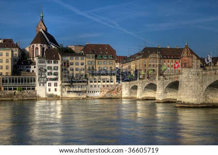 Mittlere Bridge and Basel waterfront, Switzerland (HDR image)