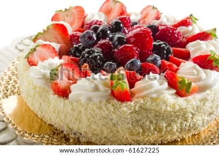 mix berries cake - stock photo