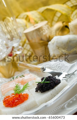 mix canape on christmas table