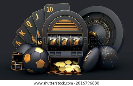mix casino sport roulette slot cards football basketball 3d render 3d rendering illustration