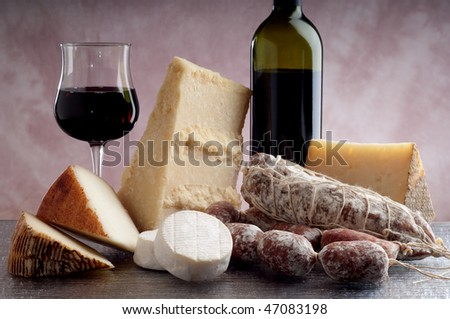 mix cheese salami and red wine