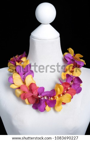 Mix Color Hawaii flowers lei necklace made from Yellow, Red and Purple Mokara orchid flower on Mannequin with studio black background.