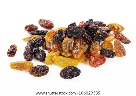 mix color raisin on white background