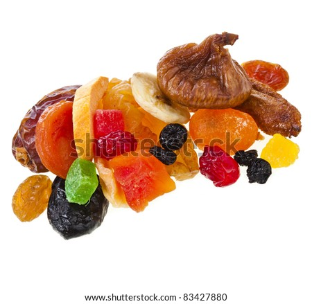 mix dried candied fruits  isolated on white background