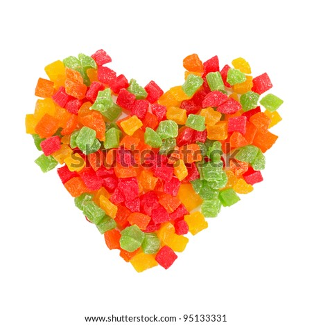 mix dried colorful fruits candies heart shape isolated on white background