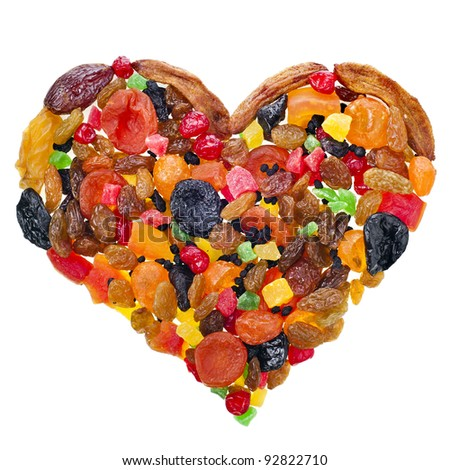 mix dried fruits heart shape  isolated on white background