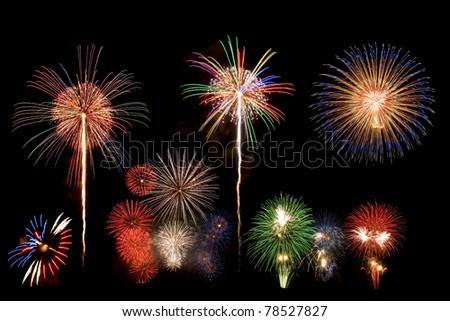 mix firework in black sky background - stock photo