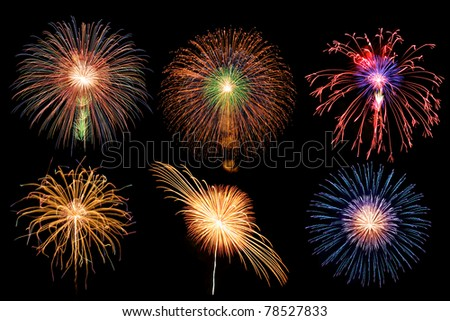 mix firework in black sky background